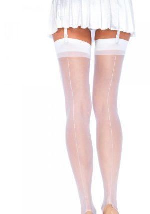 Sheer Backseam Stockings white - Back - Leg Avenue By Valerie