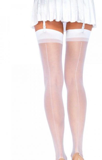 Sheer Backseam Stockings white - Back - Leg Avenue By Valerie