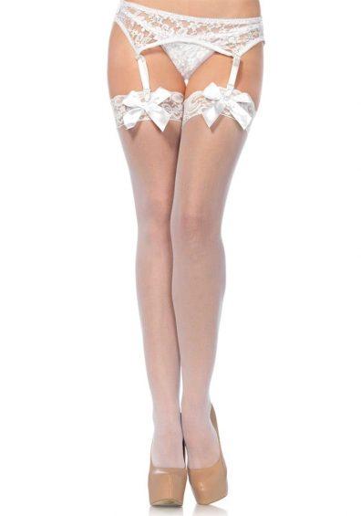 Sheer Stay-ups m. Lace Top hvit – Back – Leg Avenue By Valerie