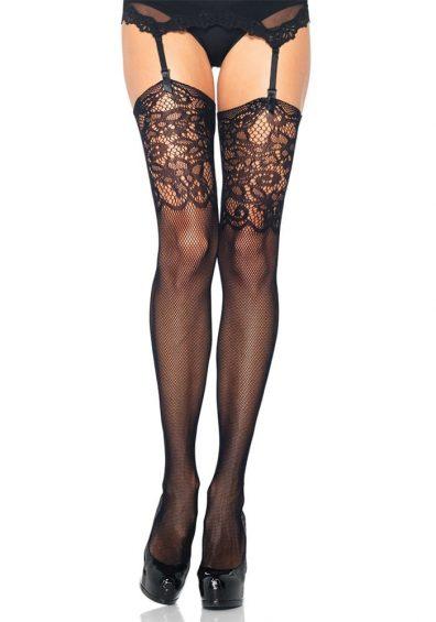 Fishnet Stockings m. Lace Top sort – Back – Leg Avenue By Valerie