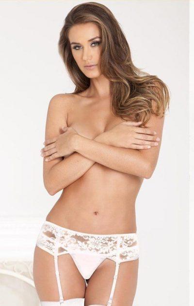 Lace Hofteholder white - Front - Rene Rofé - Lingerie By Valerie