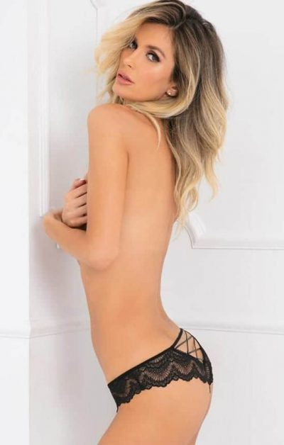 Come Undone Crotchless Panty sort - Back - Rene Rofé By Valerie