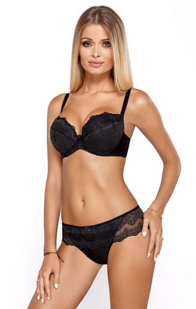 Elegant Cassi Push-up BH & Brazilian Sort Blonde - Helprofil foran - Pari Pari - Lingerie Sett By Valerie