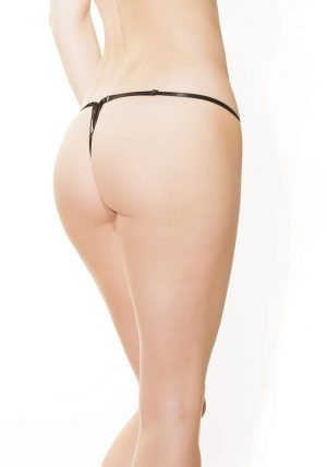 Leopard Stretch Lace G-streng sort - Back - Coquette By Valerie