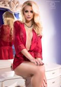 Grace Satin Morgenkåpe rod – Back – Chili Rose – Nightwear By Valerie