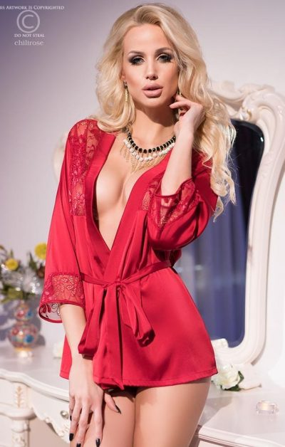 Grace Satin Morgenkåpe red - Front - Chili Rose - Nightwear By Valerie