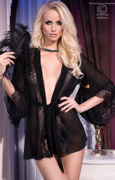 Missy Mesh Morgenkåpe m. String black - Back - Chili Rose - Nightwear By Valerie
