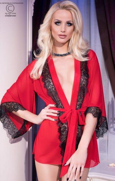 Missy Mesh Morgenkåpe m. String red - Front - Chili Rose - Nightwear By Valerie