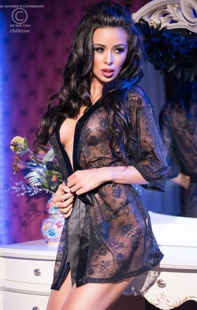 Rose Lace Morgenkåpe black - Front - Chili Rose - Nightwear By Valerie