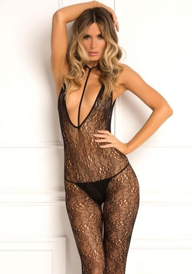 Plunge Harness Bodystocking sort – Front – Rene Rofé By Valerie