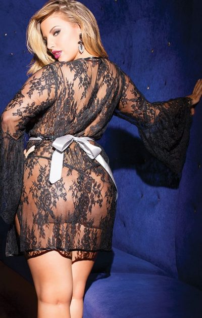 Lace Chemise sort - Back - Coquette - Nightwear By Valerie