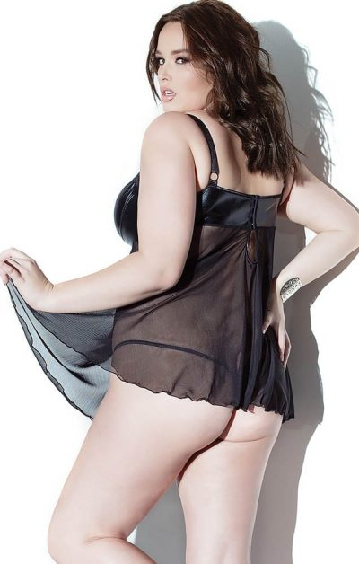 Darque Babydoll & G-streng sort - Back - Coquette - Nightwear By Valerie