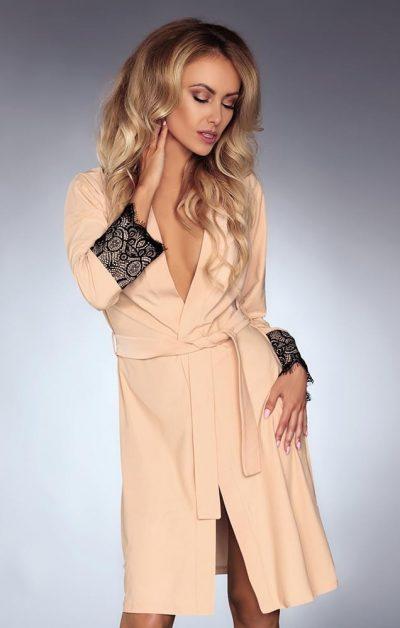 Daniella Morgenkåpe beige-nude - Back - Livia Corsetti - Nightwear By Valerie