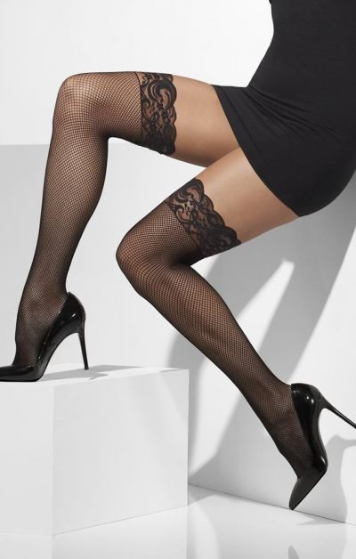 Sort Fishnet Stay-ups - Front - Fever By Valerie