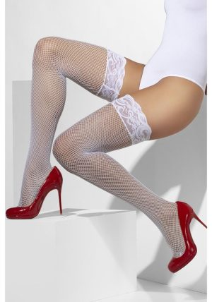 Hvit Fishnet Stay-ups - Front - Fever By Valerie