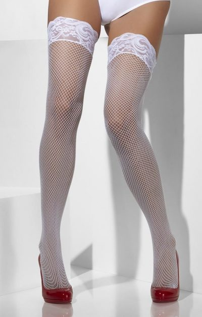 Hvit Fishnet Stay-ups - Back - Fever By Valerie