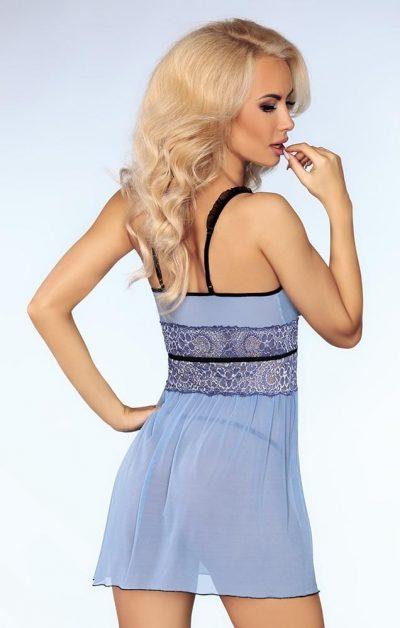 Isidora Chemise & String blue - Back - Livia Corsetti - Nightwear By Valerie