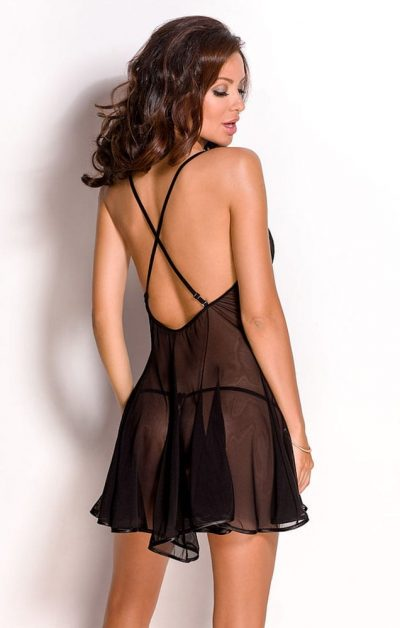 Natali Chemise sort - Back - Anais Apparel - Nightwear By Valerie