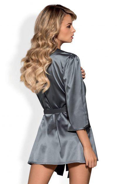 Satinia Morgenkåpe gray - Back - Obsessive - Nightwear By Valerie