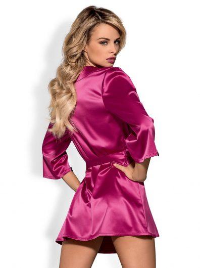 Satinia Morgenkåpe rosa – Back – Obsessive – Nightwear By Valerie