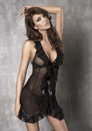 Seduce Me Chemise black - Front - Anais Apparel - Nightwear By Valerie