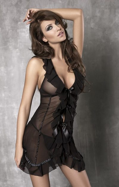 Seduce Me Chemise black - Front - Anais Apparel - Nightwear By Valerie