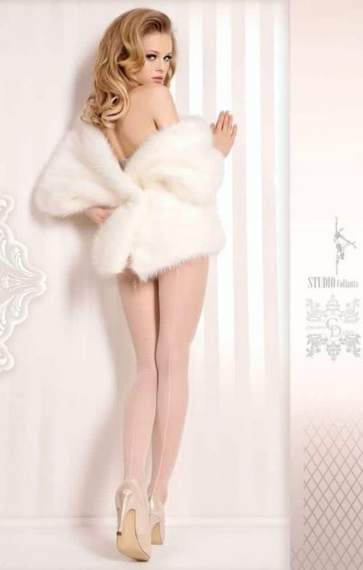 Wedding Day Stay-ups 381 white - Back - Ballerina Hosiery By Valerie