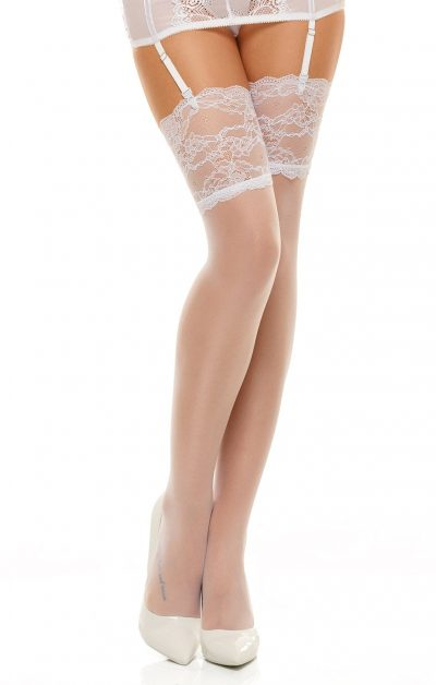 Romance Stockings white - Back - Beauty Night By Valerie