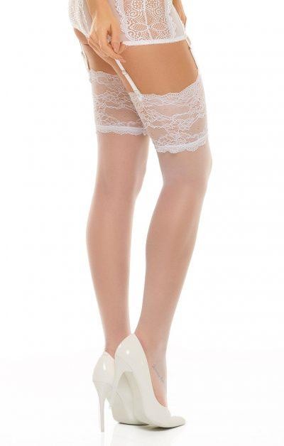 Romance Stockings hvit - Back - Beauty Night By Valerie