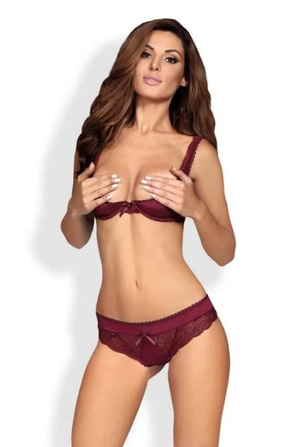 Miamor Open Bra 2 Piece Set red - Front - Obsessive - Lingerie By Valerie