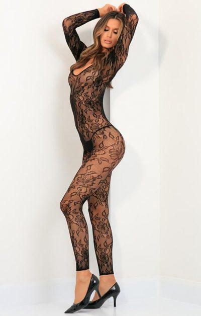 Body Up Crotchless Bodystocking black - Back -  By Valerie